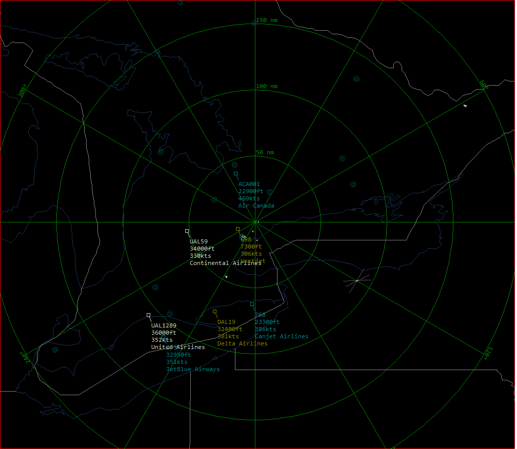 A screenshot from my BaseStation installation showing a handful of midday planes within range of Toronto CYYZ.